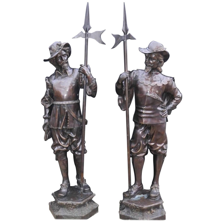 Pair of Bronze Lifesize 20th Century Bronze Cavaliers