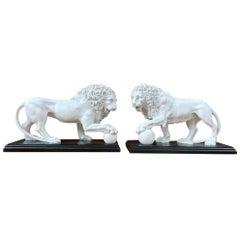 Pair of Marble Lion Gatekeeper Statues, Large Cat Castings
