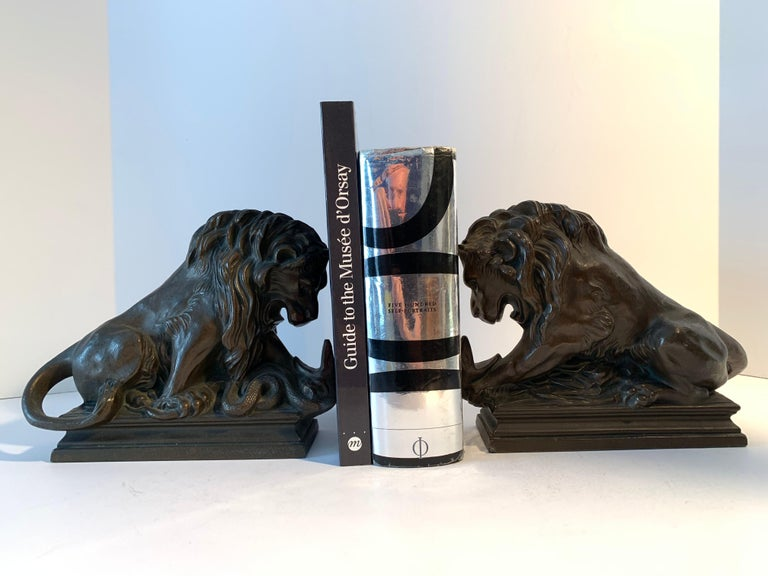 Pair of Bronze Lion Wrestling with Serpent Bookends For Sale 1