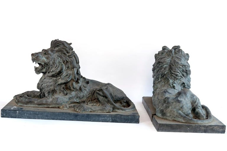 Pair of Bronze Lions For Sale 5