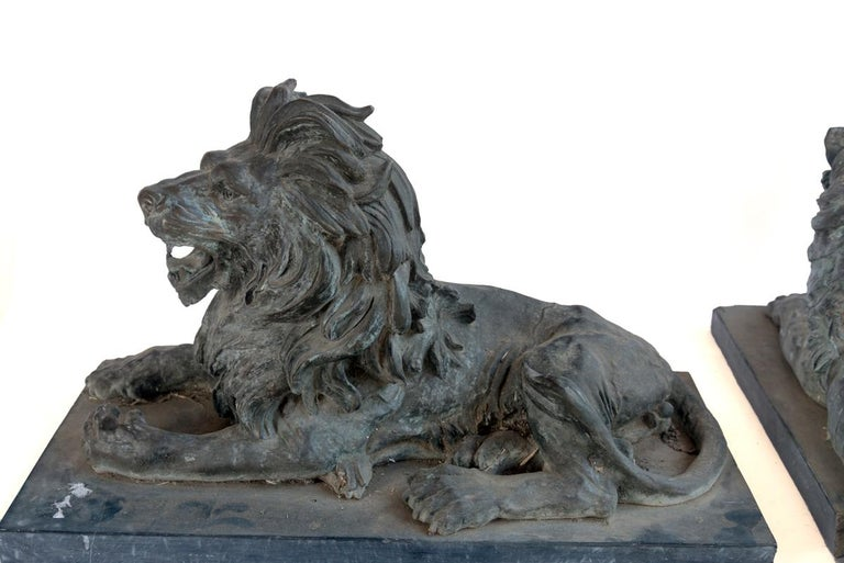 Pair of Bronze Lions For Sale 6