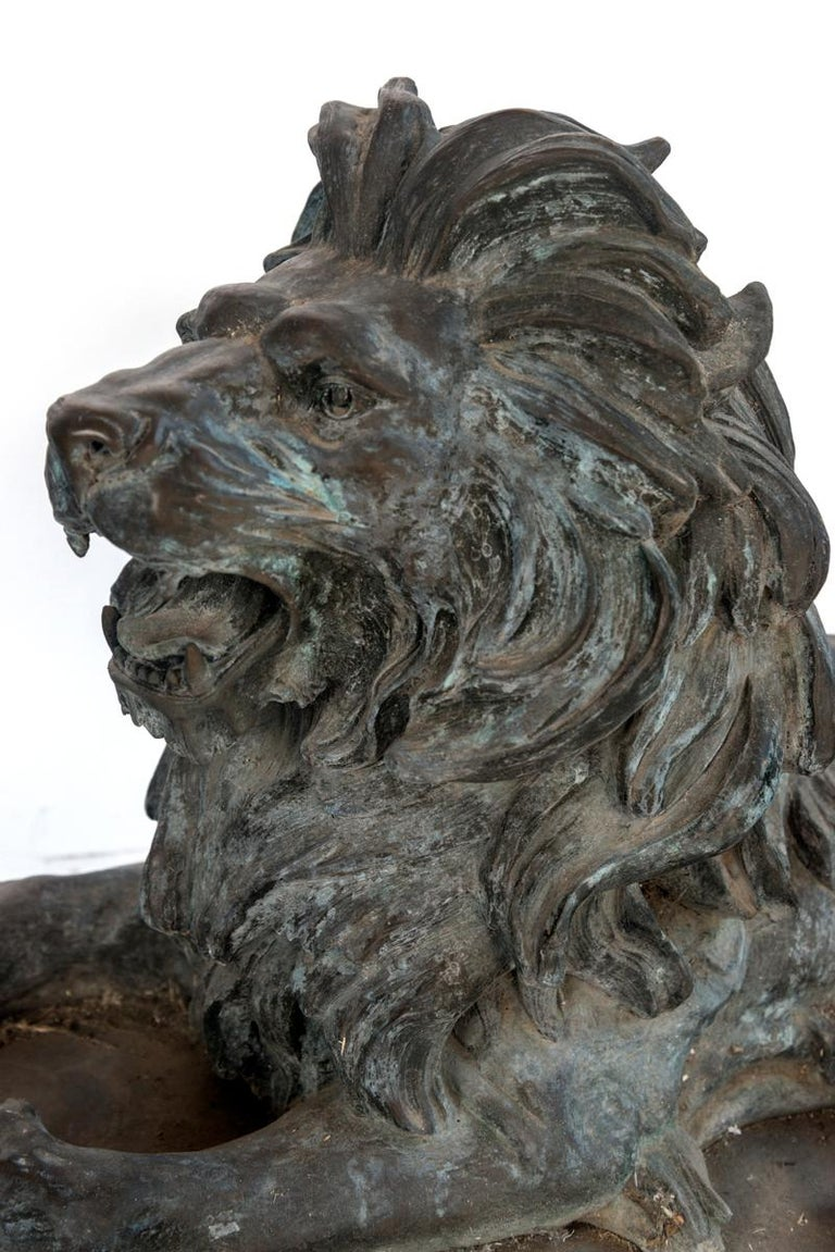 Pair of Bronze Lions For Sale 8