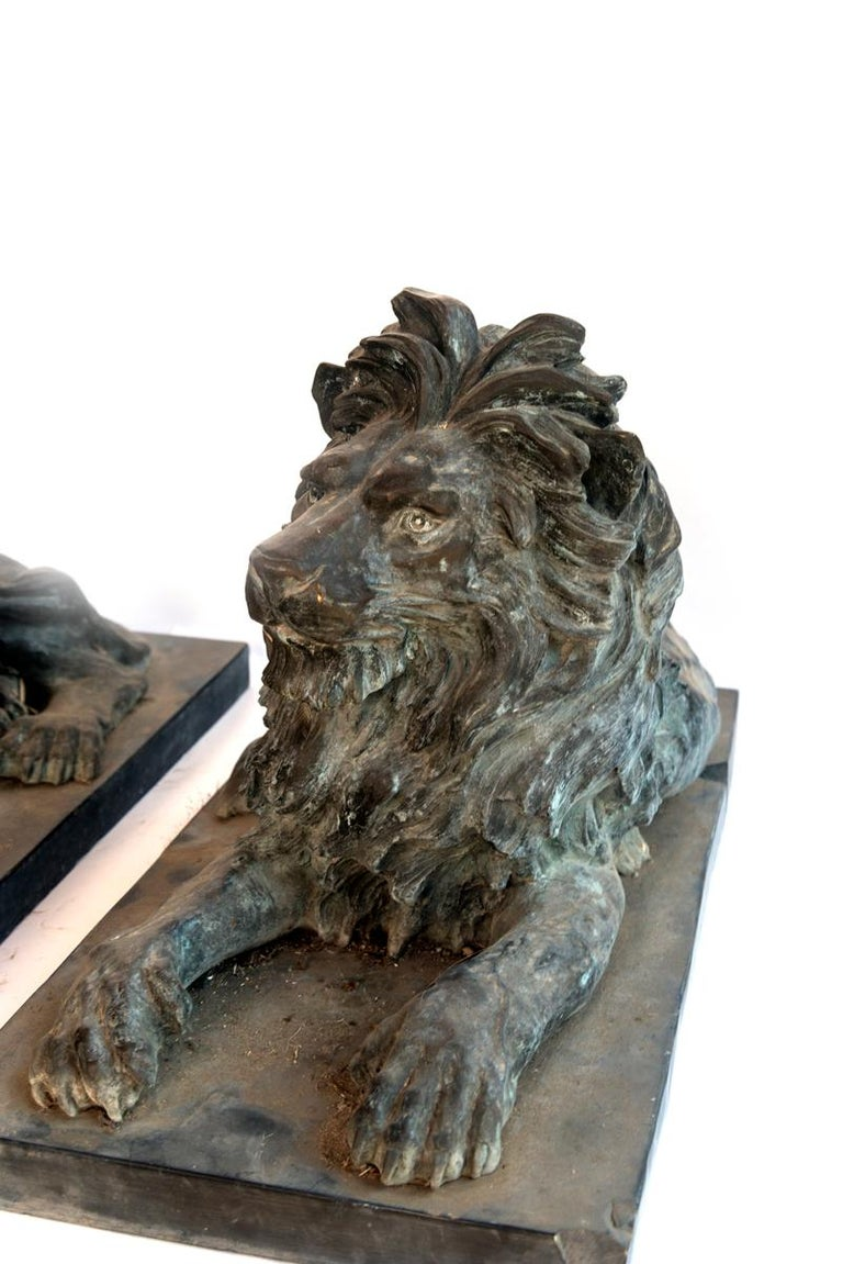 Italian Pair of Bronze Lions For Sale