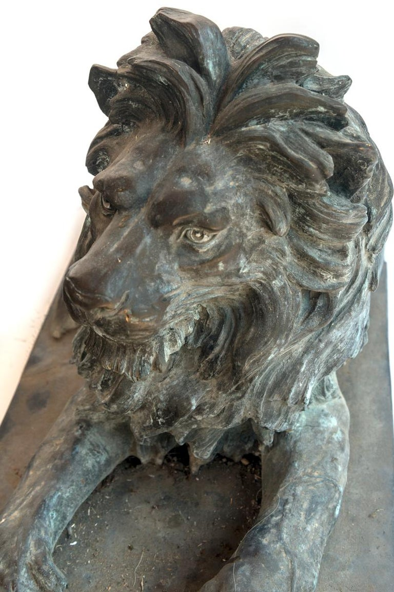 Pair of Bronze Lions In Good Condition For Sale In Washington, DC