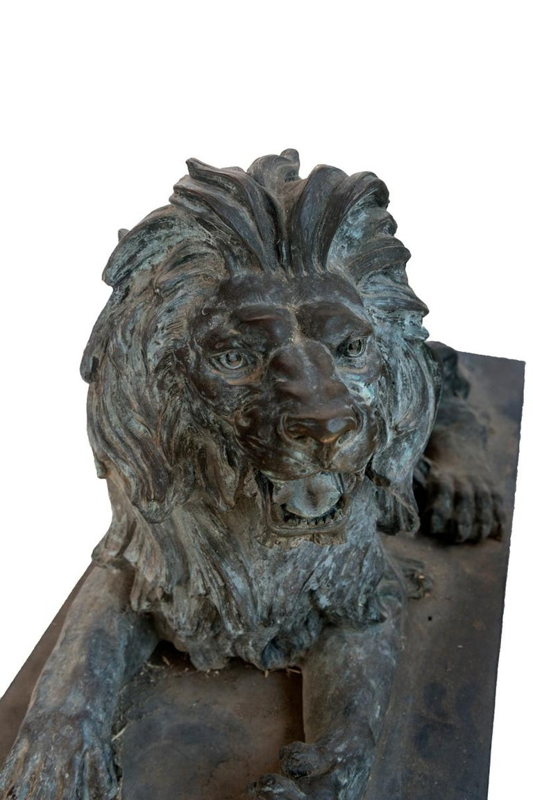 19th Century Pair of Bronze Lions For Sale