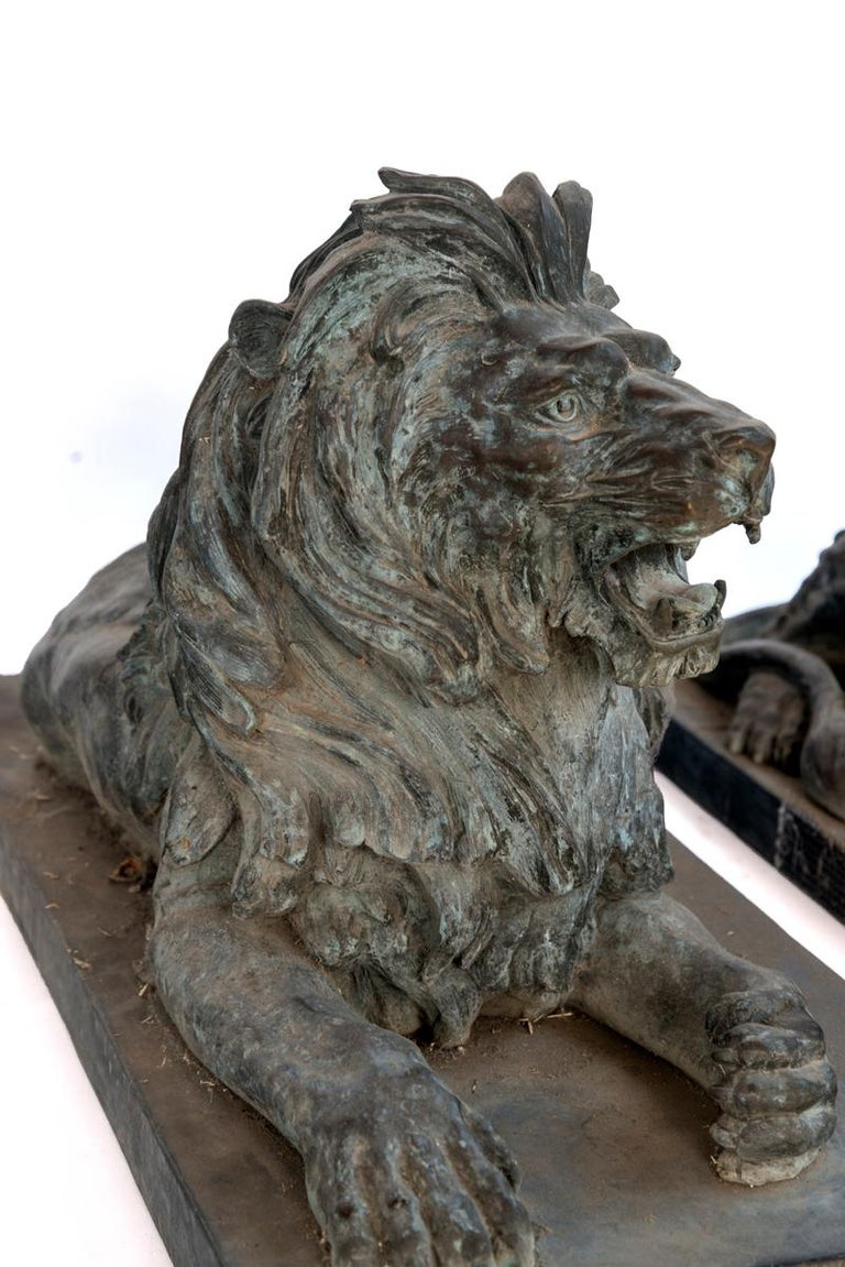 Pair of Bronze Lions For Sale 1