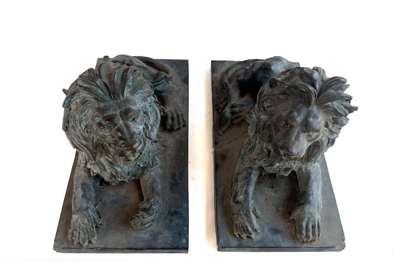 Pair of Bronze Lions For Sale 3