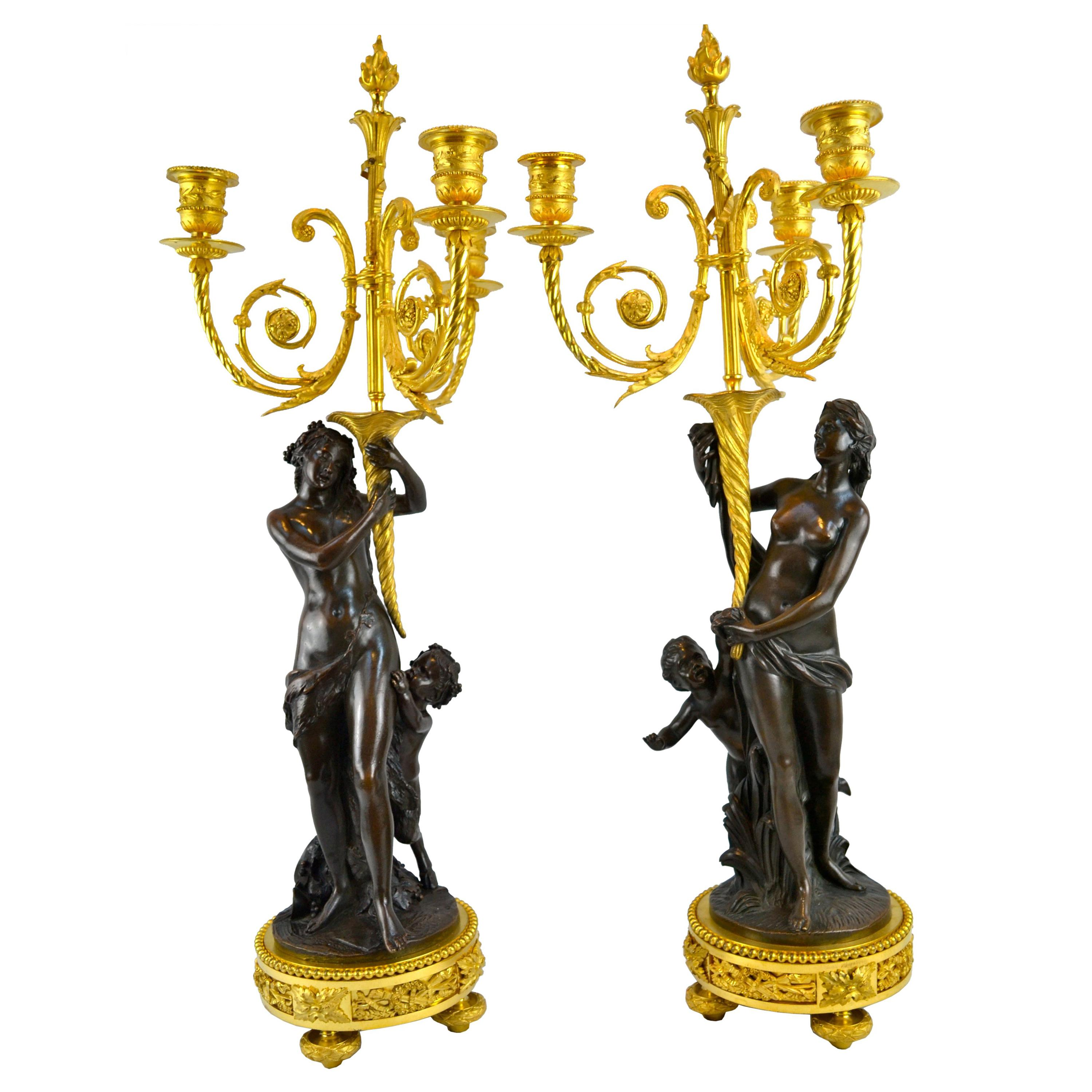 Pair of Bronze French  Louis XVI Style Figural Candelabra After Clodion