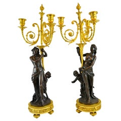 Pair of Bronze Louis XVI Style Figural Candelabra After Clodion