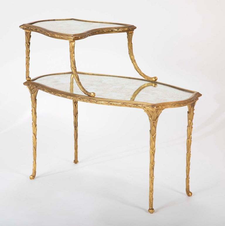 Mid-Century Modern Pair of Bronze Maison Charles Side Tables For Sale