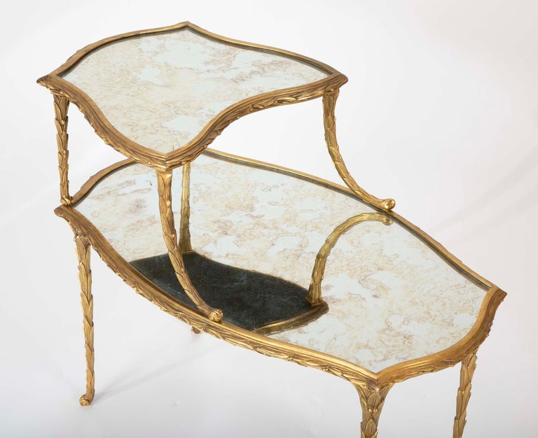 French Pair of Bronze Maison Charles Side Tables For Sale