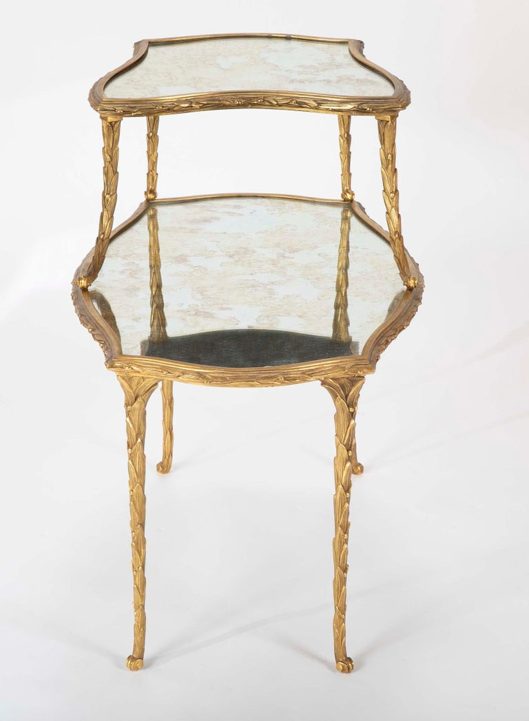Mid-20th Century Pair of Bronze Maison Charles Side Tables For Sale
