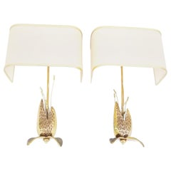 "Pair of Bronze Maison Charles Style ""Cactus"" Sconces"