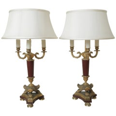 Pair of Bronze & Marble Bouillotte Lamps