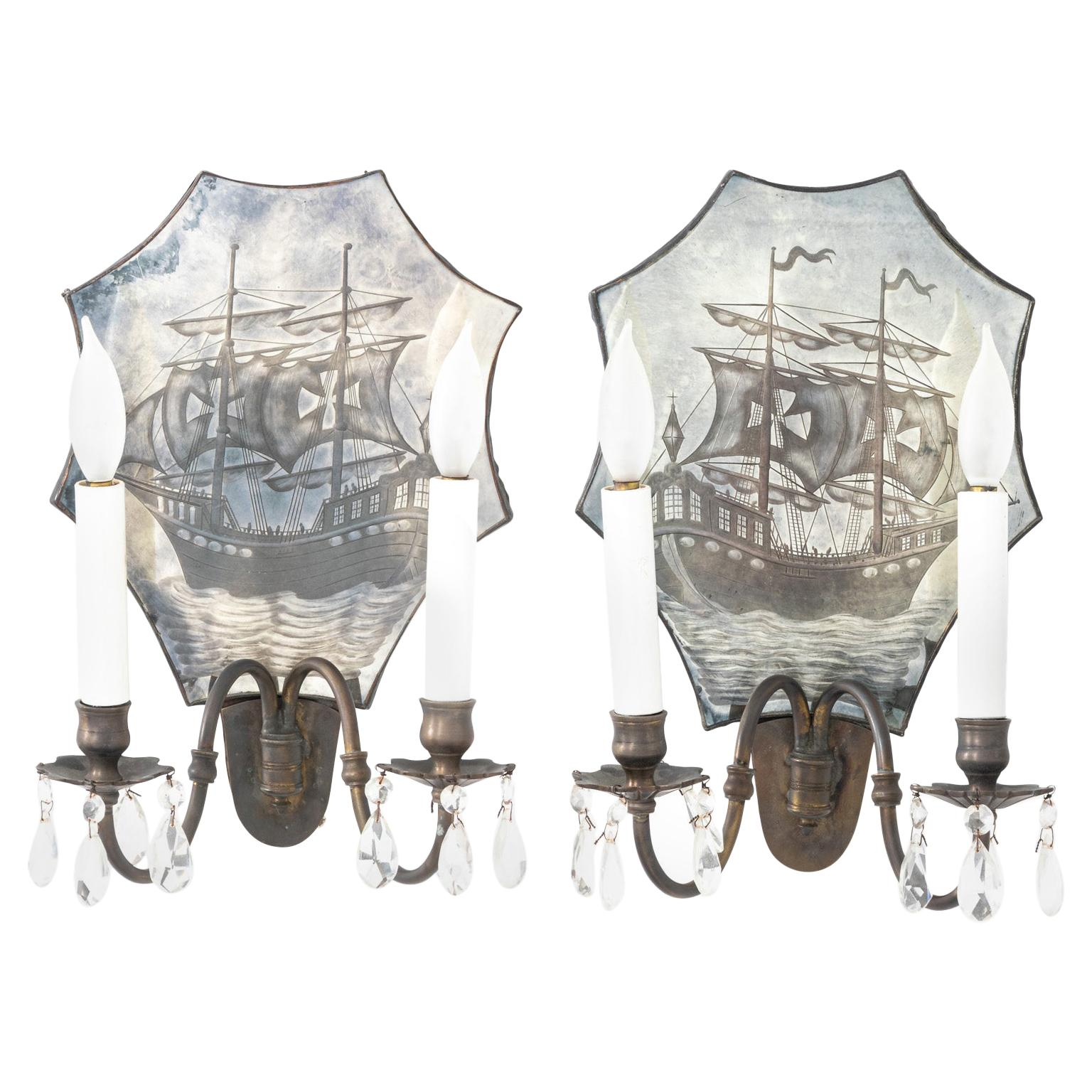 Pair of Bronze Mirrored Sconces