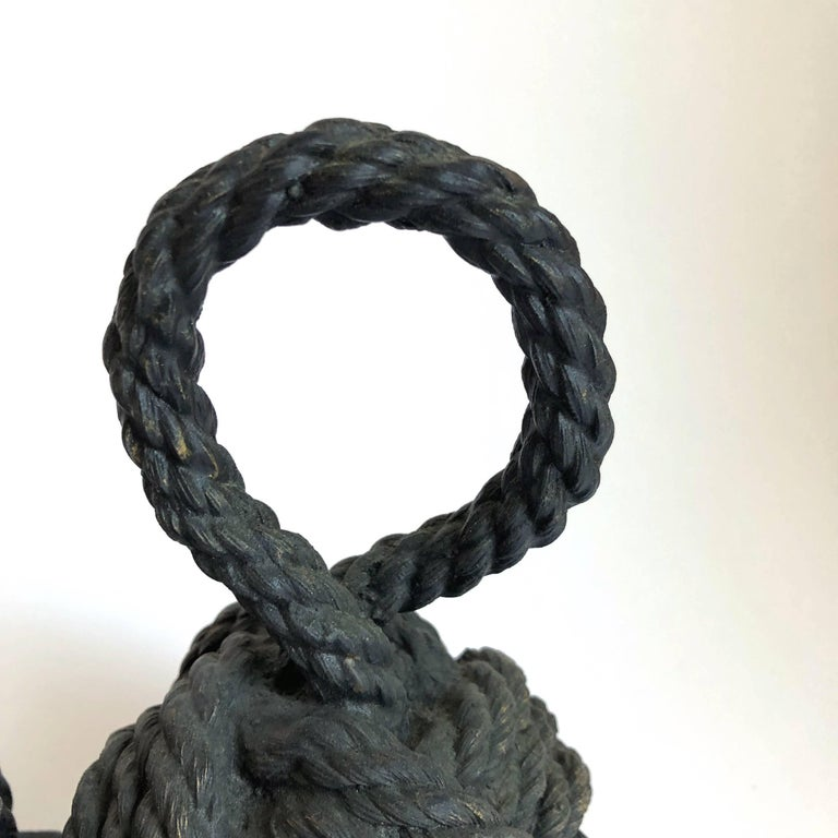 20th Century Pair of Bronze Monkey Fist Knot Bookends For Sale