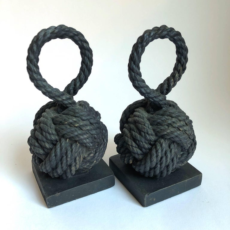 Pair of Bronze Monkey Fist Knot Bookends For Sale 4