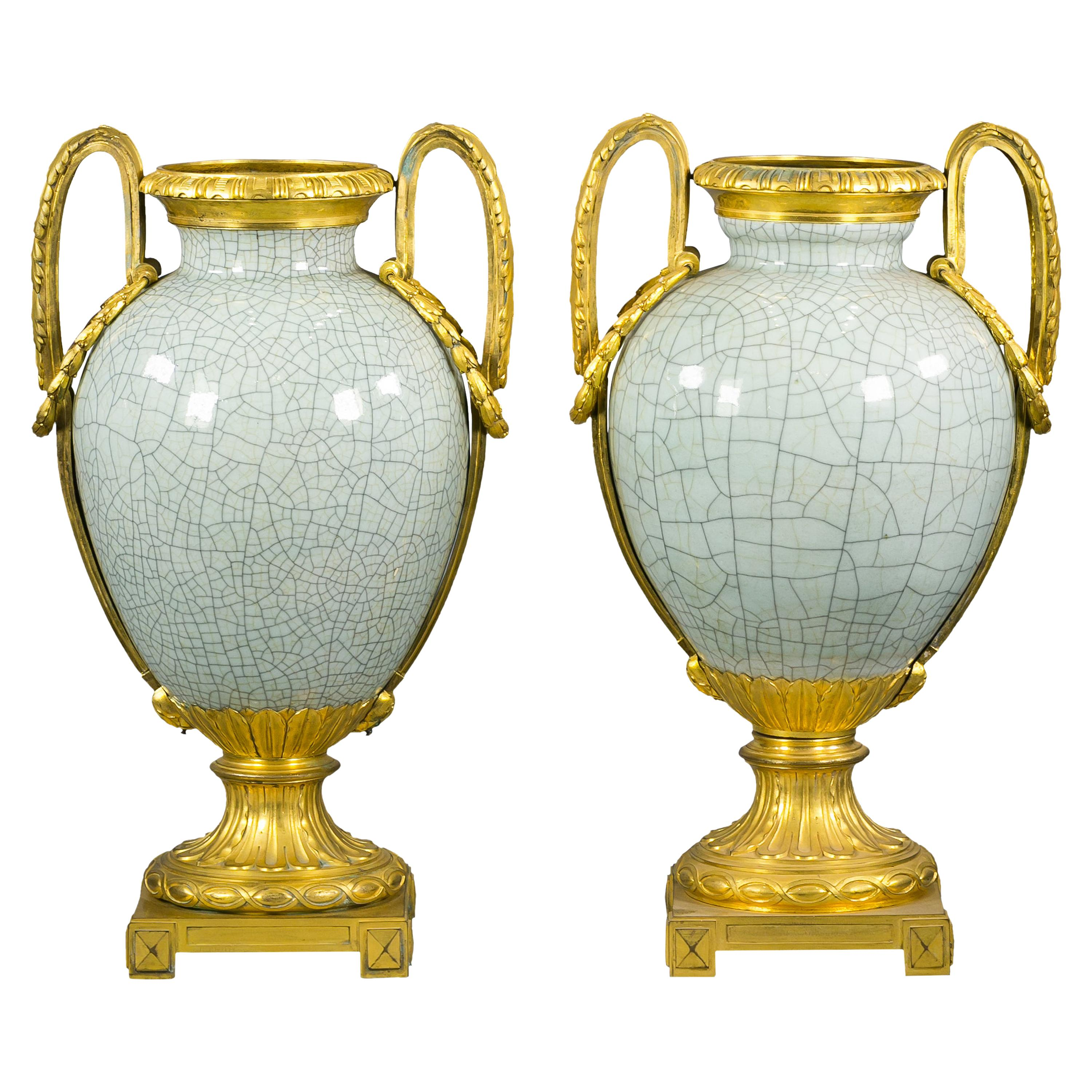 Pair of Bronze Mounted Crackled Celadon Vases, French, circa 1880