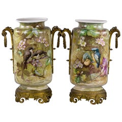 Pair of Bronze-Mounted French Porcelain Vases, circa 1880