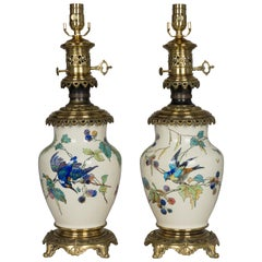 Pair of Bronze-Mounted Sevres Ceramic Lamps in the Manner of Theodore Deck