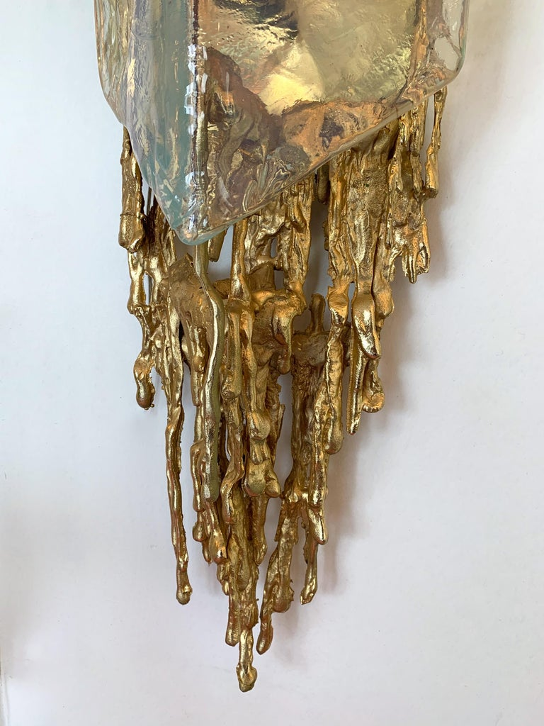 Pair of Bronze Murano Glass Sconces by Claude Victor Boeltz, France, 1970s 10