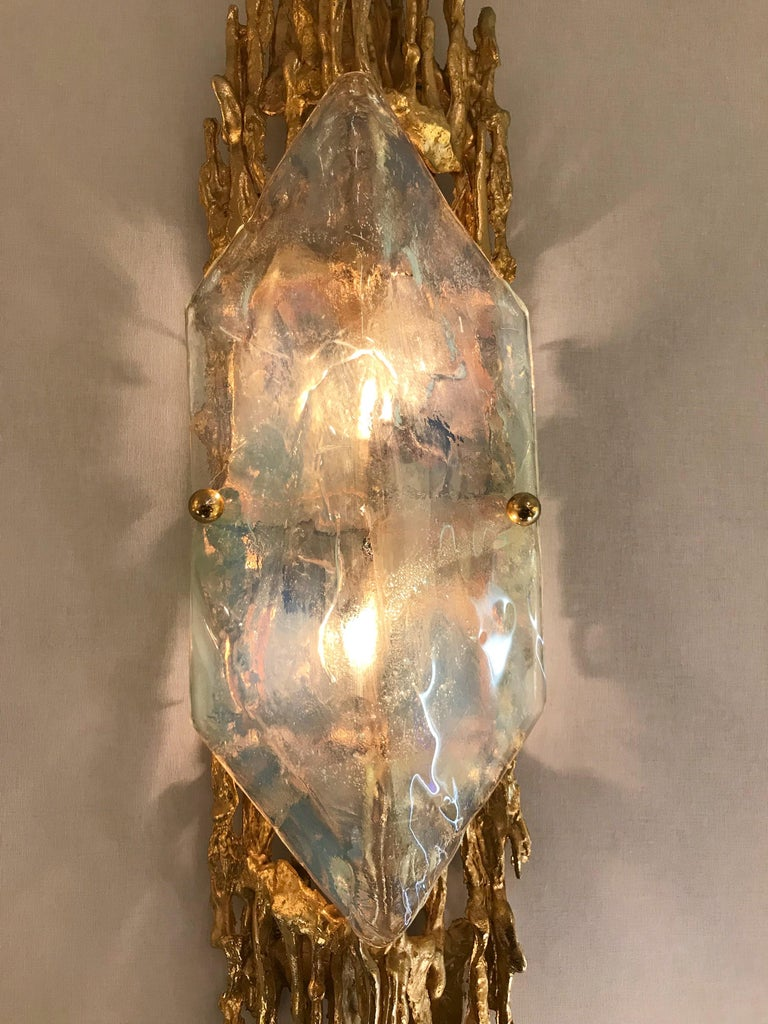 Pair of Bronze Murano Glass Sconces by Claude Victor Boeltz, France, 1970s 3
