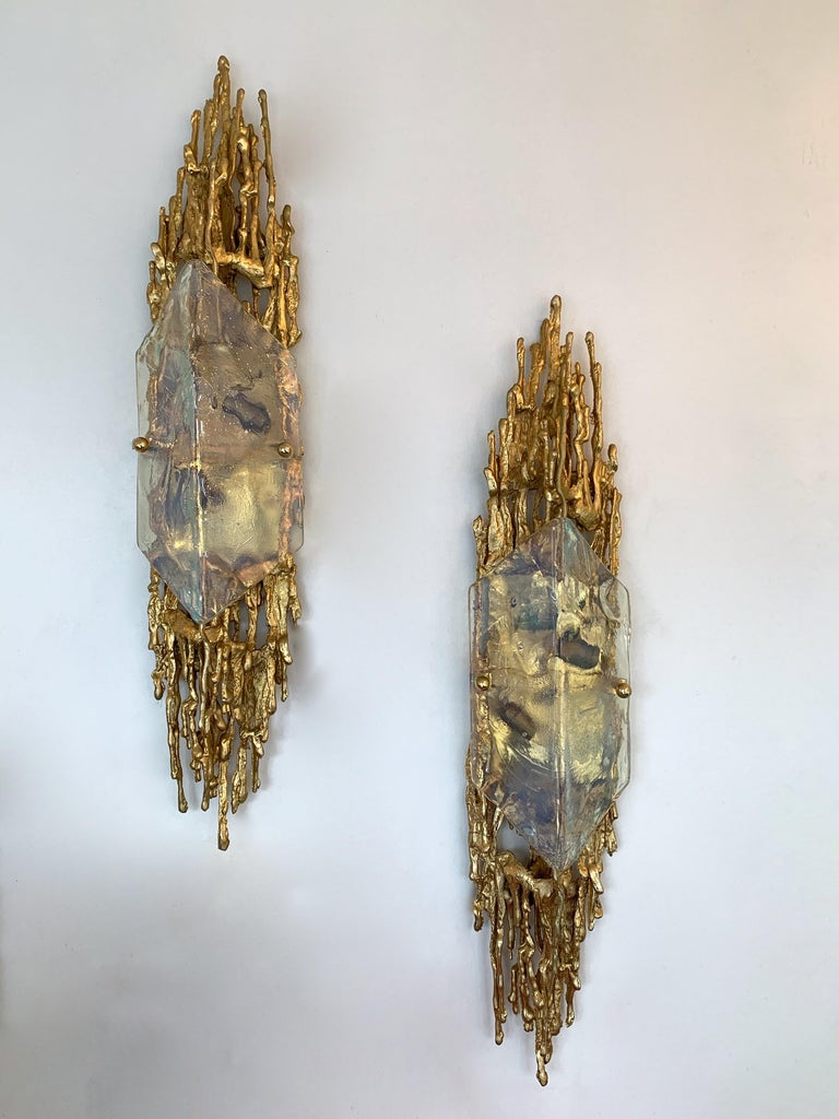 Pair of Bronze Murano Glass Sconces by Claude Victor Boeltz, France, 1970s 2