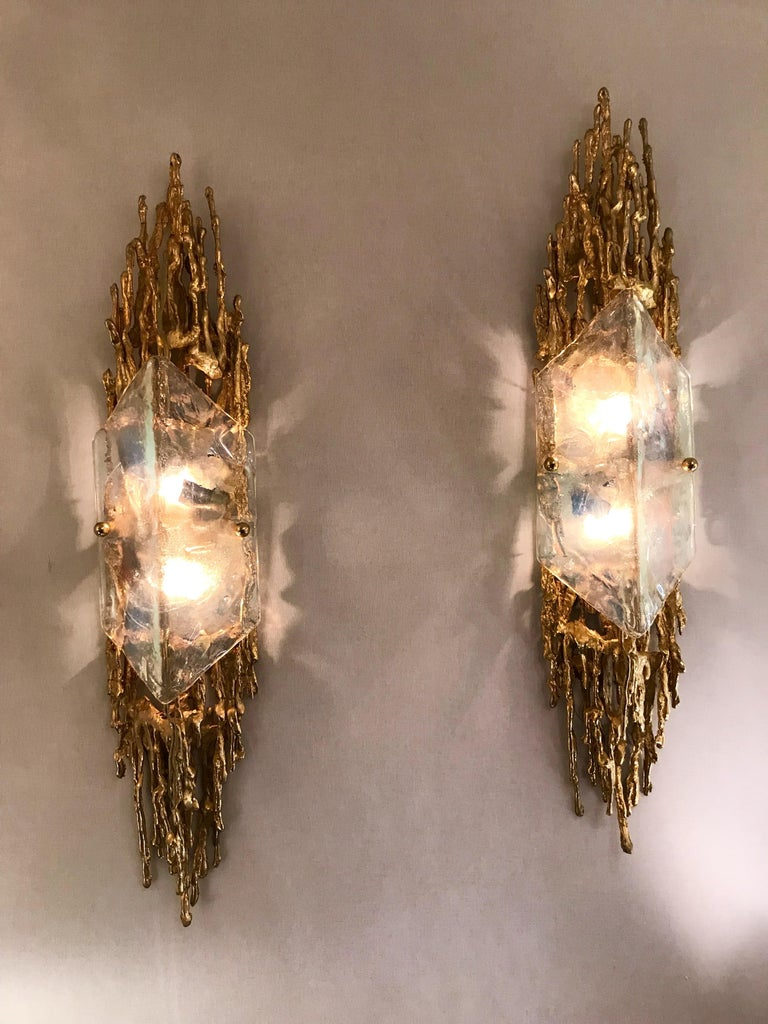 Pair of Bronze Murano Glass Sconces by Claude Victor Boeltz, France, 1970s 5