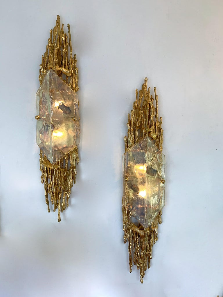 Pair of Bronze Murano Glass Sconces by Claude Victor Boeltz, France, 1970s 4