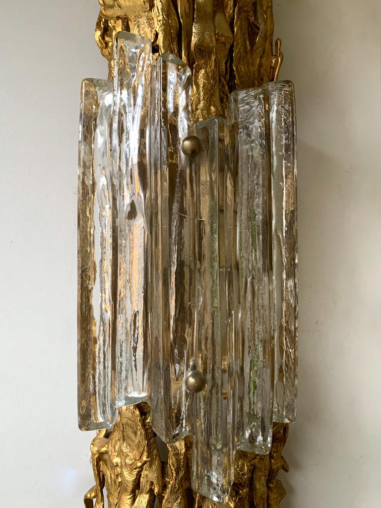 Gilt Pair of Bronze Murano Glass Sconces by Claude Victor Boeltz, France, 1970s For Sale