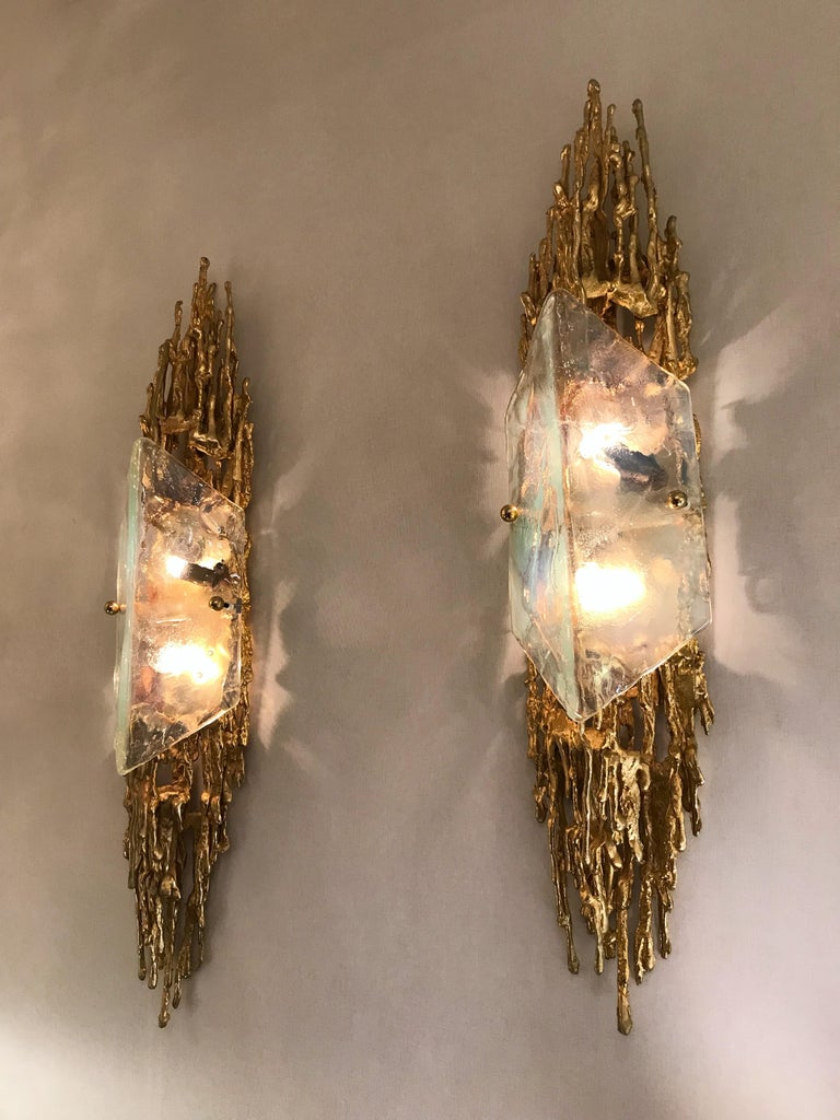 Pair of Bronze Murano Glass Sconces by Claude Victor Boeltz, France, 1970s 8