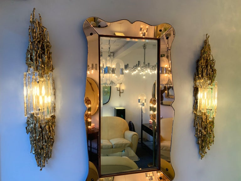 Pair of Bronze Murano Glass Sconces by Claude Victor Boeltz, France, 1970s For Sale 3