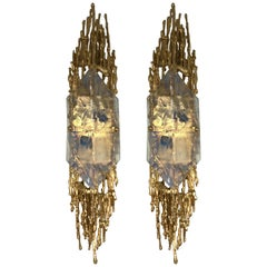 Pair of Bronze Murano Glass Sconces by Claude Victor Boeltz, France, 1970s