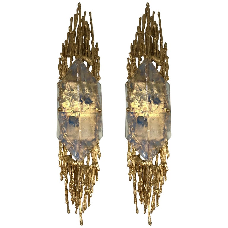 Pair of Bronze Murano Glass Sconces by Claude Victor Boeltz, France, 1970s 1