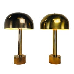 Pair of Bronze Mushroom Lamps in the Style of Laurel