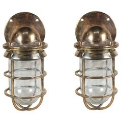 Pair of Bronze Nautical Ship's Passageway Sconce Lights, American, 1970s