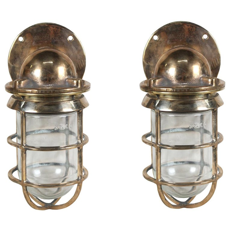 Pair of Bronze Nautical Ship's Passageway Sconce Lights, American, 1970s For Sale