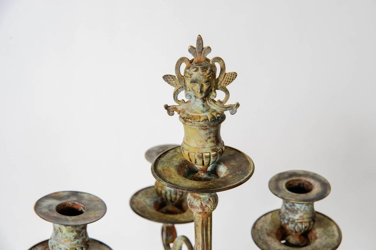 Mid-19th Century Pair of Bronze Neo Antique Candlesticks For Sale