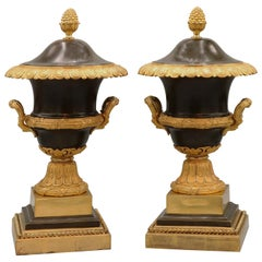 Pair of Bronze and Ormolu Urns and Covers, Early 19th Century