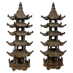 Pair of Bronze Pagodas