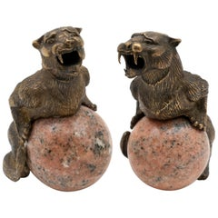 Pair of Bronze Panthers with Mounted on Marble Spheres, French, 19th Century
