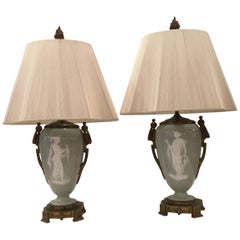 Pair of Bronze Pate Sur Pate Lamps with Grecian Goddess on Front, Floral on Back