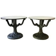 Pair of Bronze Patinated and Antiqued Mirror Centre Tables 1960s