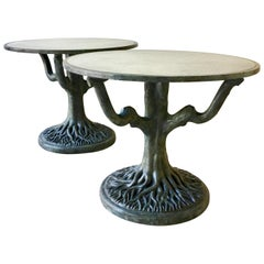 Pair of Tables on Sculpted Tree Trunk Bases circa 1960s