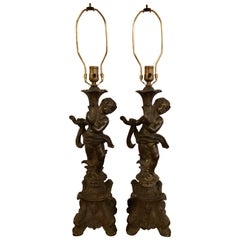 Pair of Bronze Patinated Putti Table Lamps