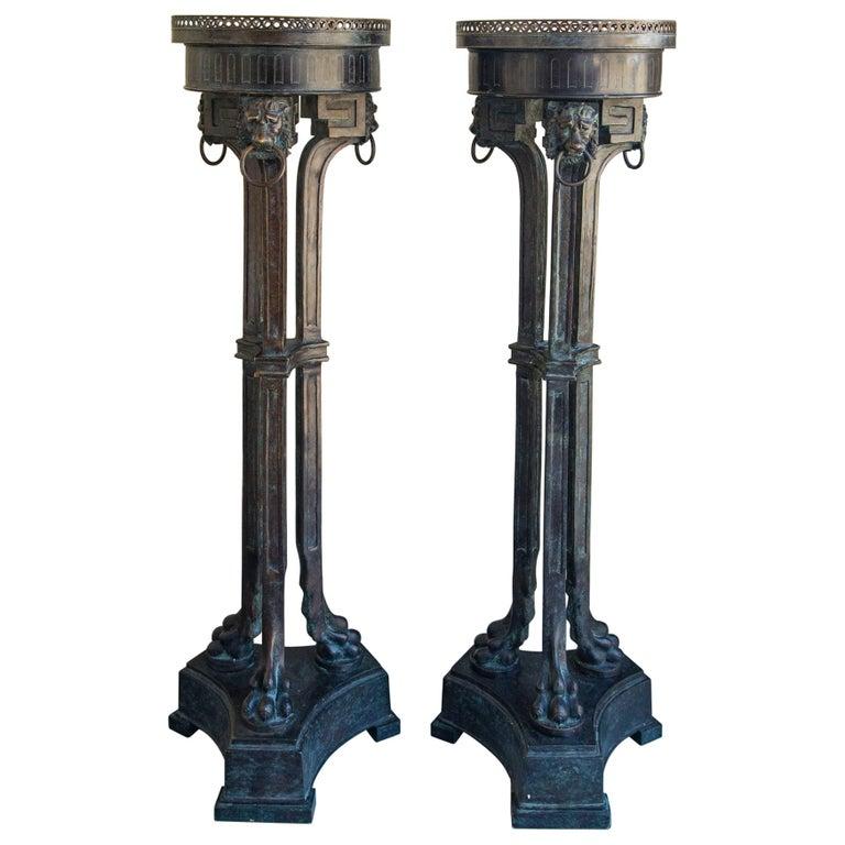 Pair of Bronze Pedestals For Sale