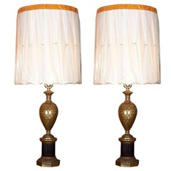 Pair of Bronze Pineapple Urn Form Table Lamps on Black Fluted Pedestal Base