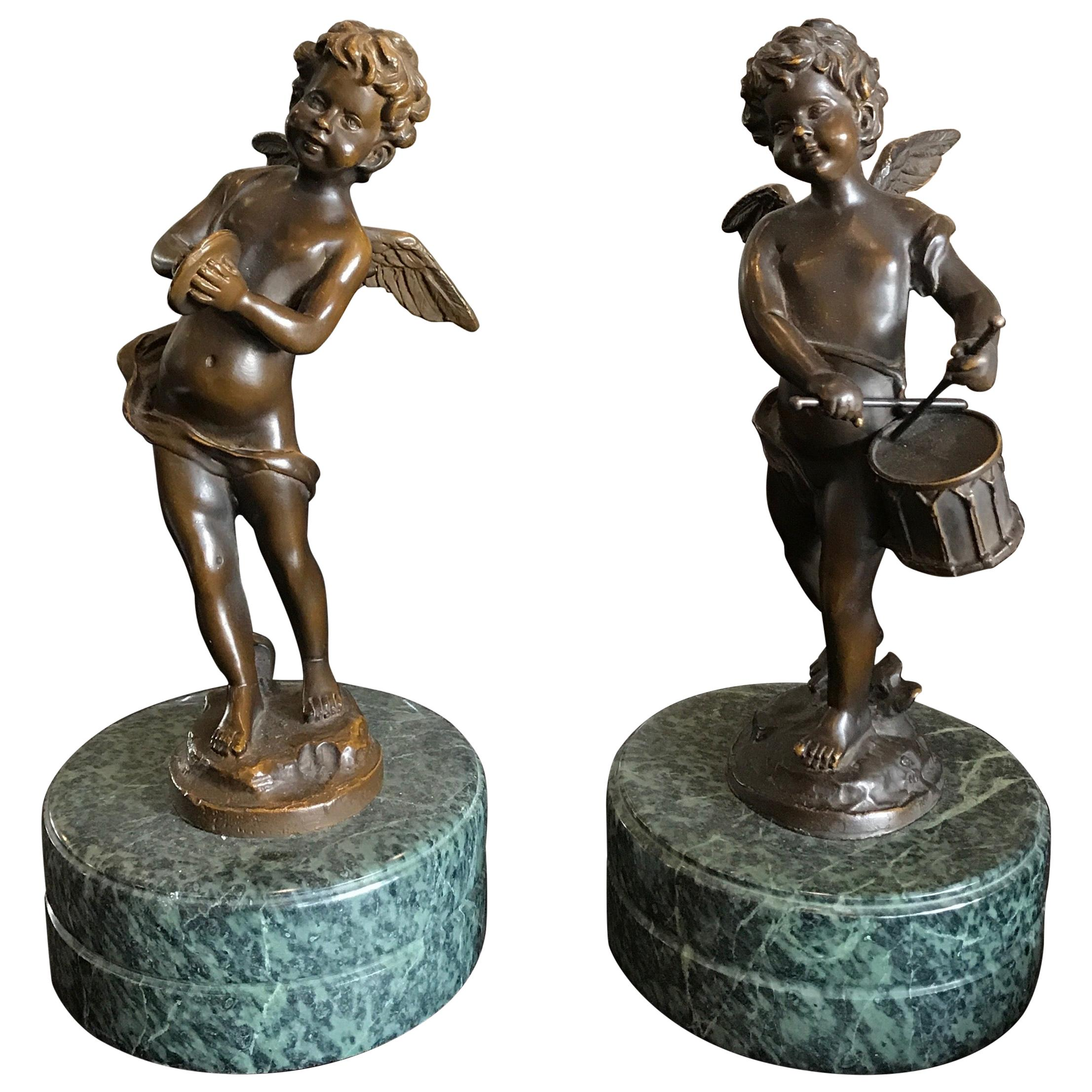 Pair of Bronze Putti Musicians on Marble Bases by Moreau