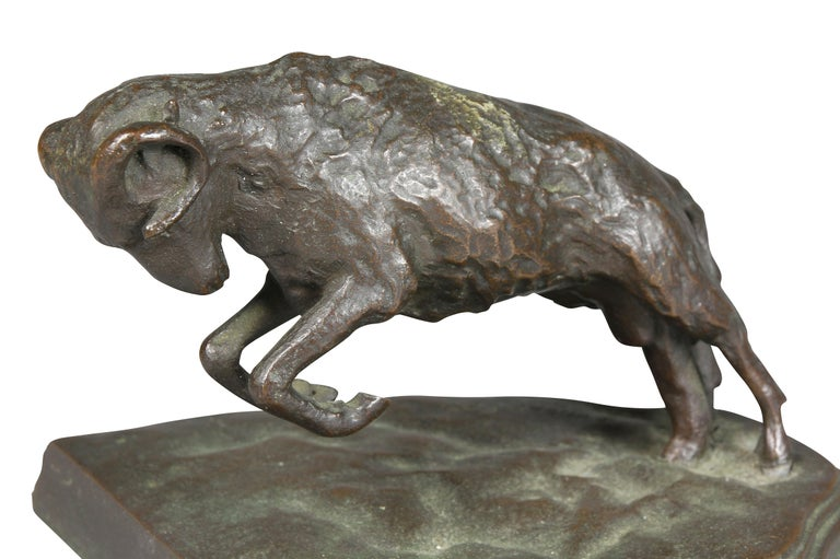 Pair of Bronze Ram Form Bookends In Good Condition For Sale In Essex, MA
