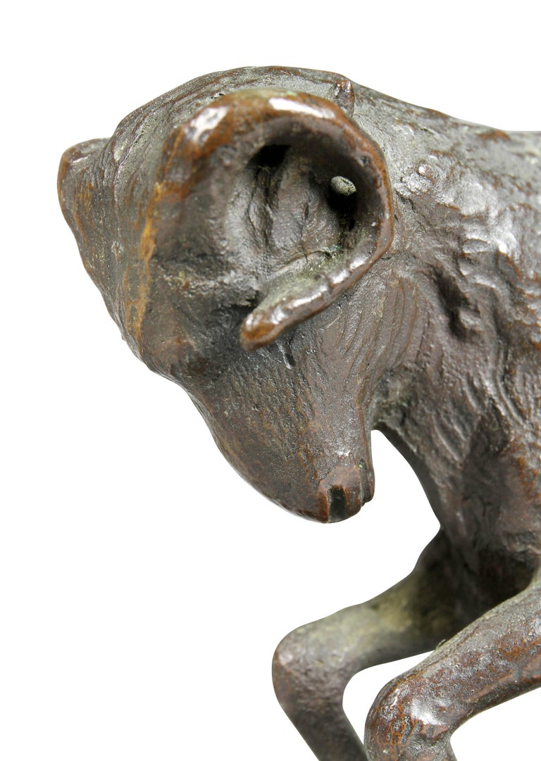 Early 20th Century Pair of Bronze Ram Form Bookends For Sale